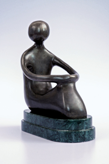 On Reflection - seated bronze figure on marble plinth
