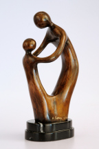 Mother with Child - standing bronze figures on marble plinth